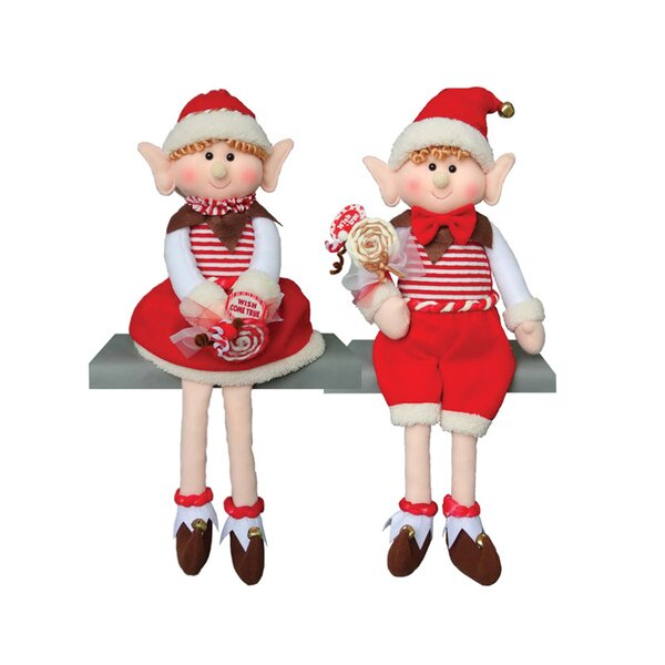 2 Piece Sitting Candy Elf Stuffed Holiday Accent Set by The Holiday Aisle