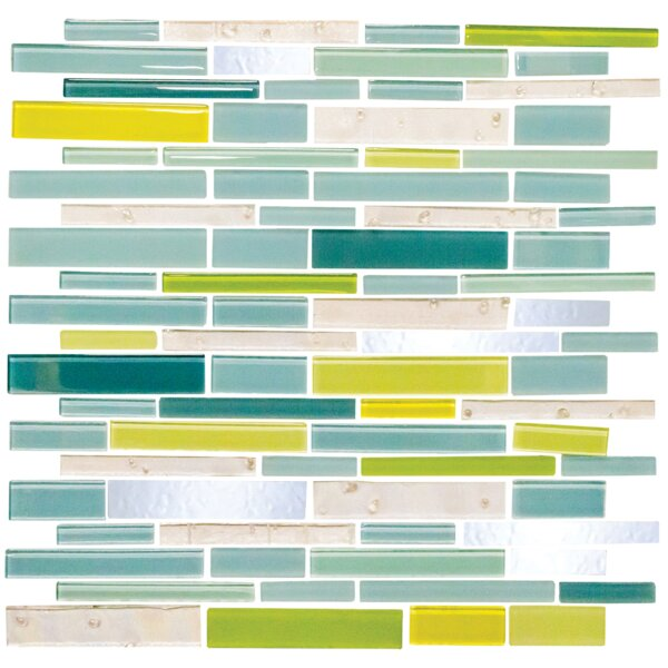 Signature Line Seafoam Glass Mosaic Tile in Green/Yellow/Blue by Susan Jablon