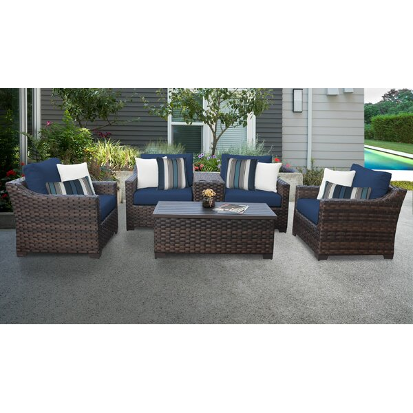 River Brook 6 Piece Outdoor Wicker Patio Furniture Set 06a by kathy ireland Homes & Gardens by TK Classics