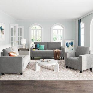 3 Piece Morden Style Sofa Set (1+2+3 Seat) by Ebern Designs