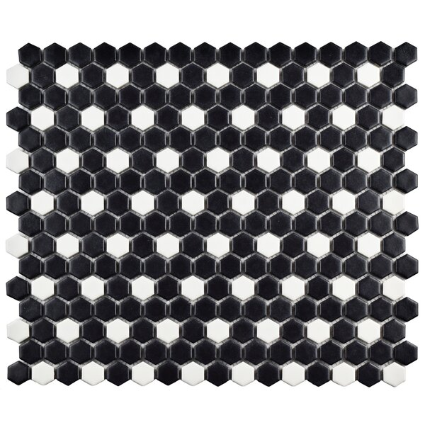 Retro 0.75 W x 0.75 L Porcelain Mosaic Tile in Matte Black/White by EliteTile