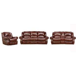 Aspen 100% Genuine Leather 3-PC Set: Double-Reclining Sofa And Gliding Console Loveseat, Plus Rocker/Recliner Chair, Oxblood by Red Barrel Studio®