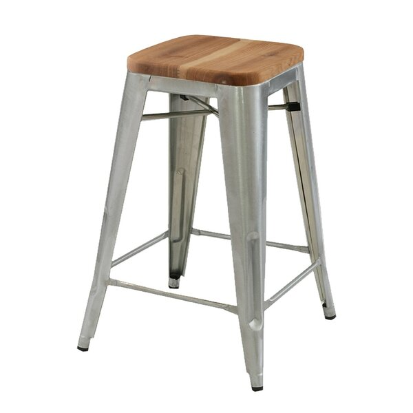 Cocchiara 26 Bar Stool with Wood Seat (Set of 4) by Gracie Oaks