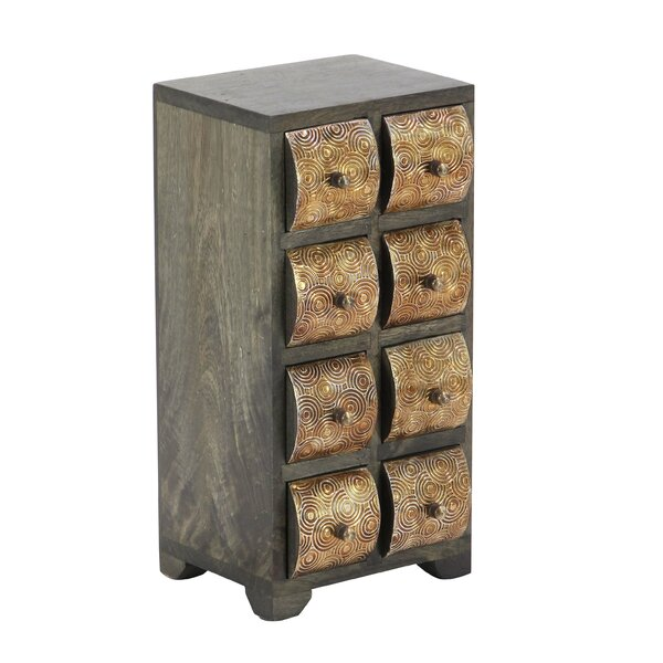 Cincinnatus Rustic Curved Square Paneled 8-Drawer Vertical Free Standing Jewelry Armoire by Bloomsbury Market