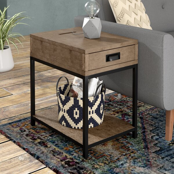 Upson Wood End Table by Three Posts