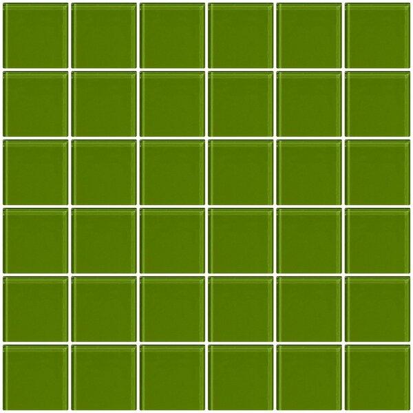 Bijou 22 2 x 2 Glass Mosaic Tile in Dark Lime Green by Susan Jablon