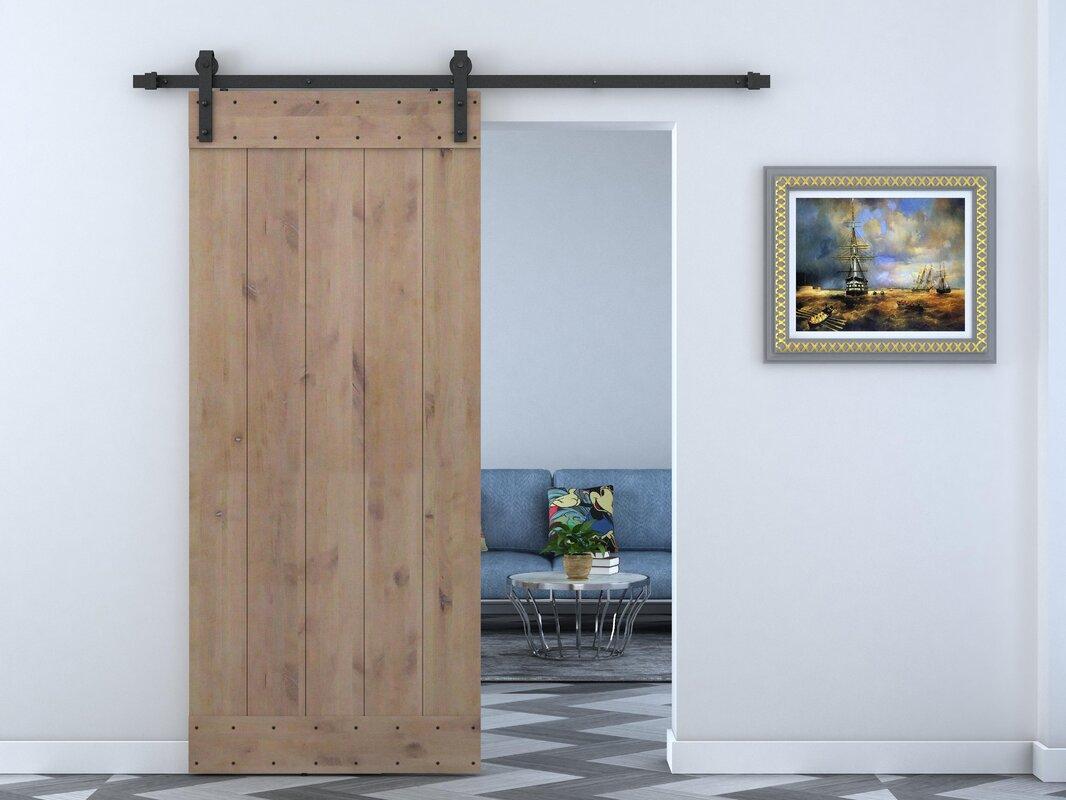Calhome Solid Wood Panelled Alder Interior Barn Door & Reviews | Wayfair