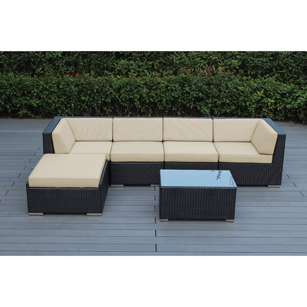 Baril 6 Piece Rattan Sunbrella Sectional Seating Group with Cushions by Wade Logan Wade Logan