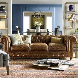Juurg Leather Chesterfield Sofa