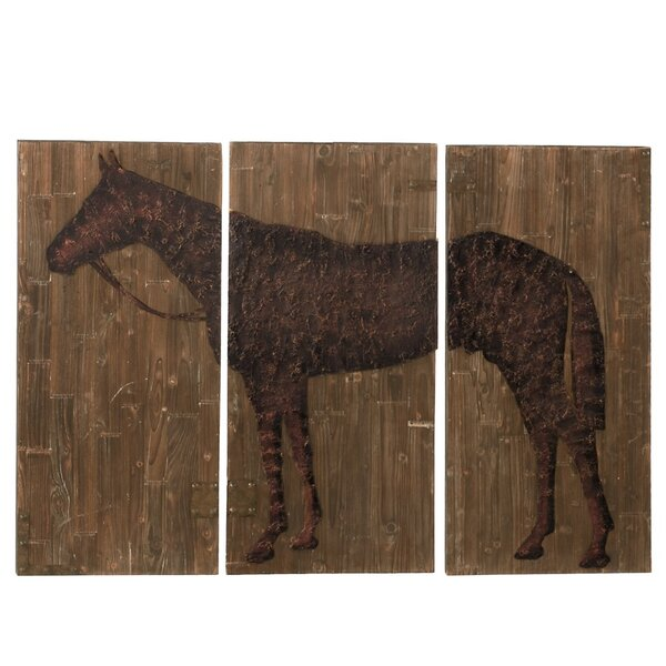 Large Horse Painting Print Plaque Set (Set of 3) by CBK
