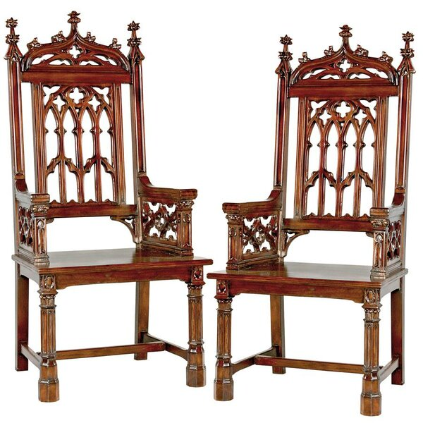 Gothic Tracery Cathedral Solid Wood Dining Chair (Set of 2) by Design Toscano Design Toscano