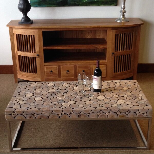 Teak Coffee Table With Stainless Base By Chic Teak