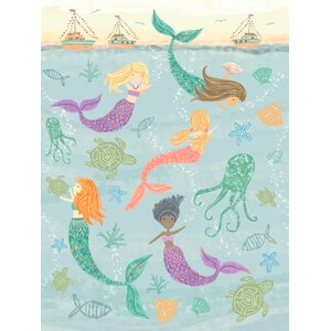 Bridget Mermaids Under the Sea by Tina O'Neill Finn Stretched Canvas Wall Art by Viv + Rae
