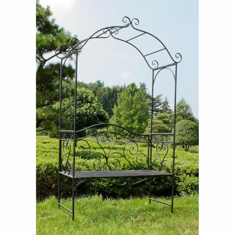 garten living 2 sitzer rosenbogen mit bank aus metall. Black Bedroom Furniture Sets. Home Design Ideas