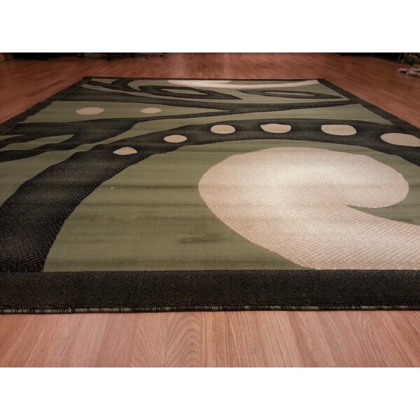 Hand-Carved Green Area Rug by Rug Tycoon