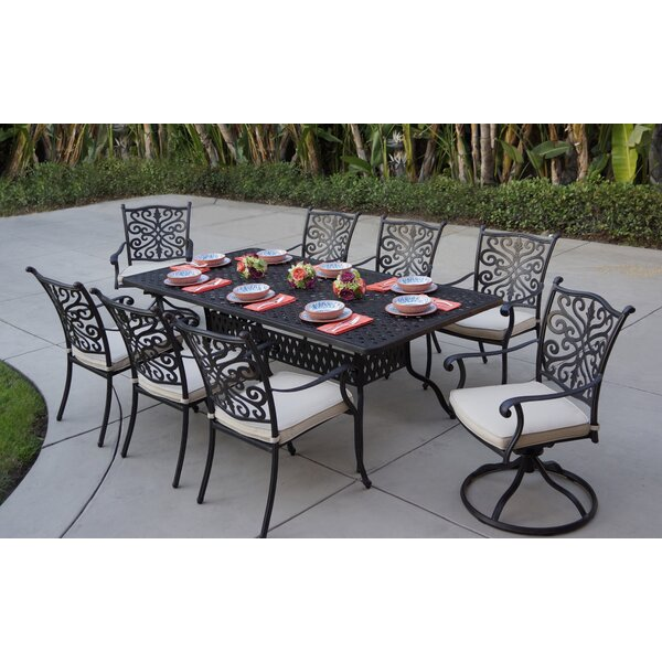 Belton 9 Piece Dining Set with Cushions by Fleur De Lis Living