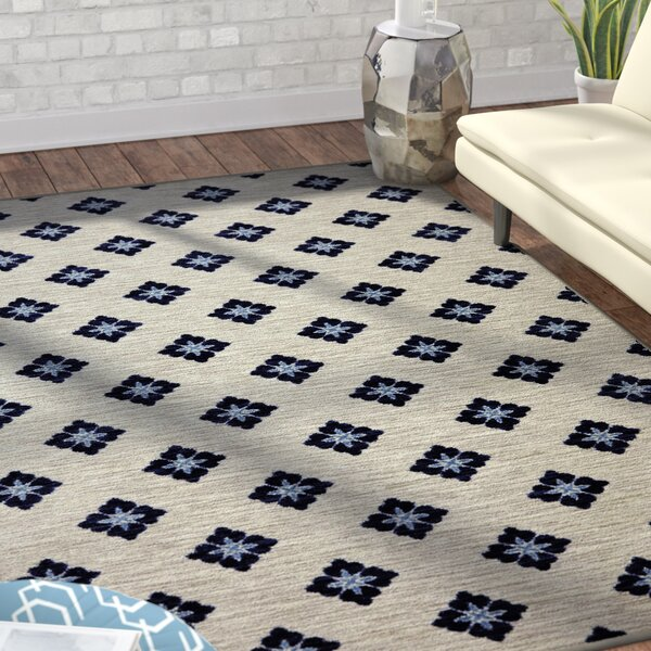 Servin Button Fleur Blue/Cream Area Rug by Wrought Studio