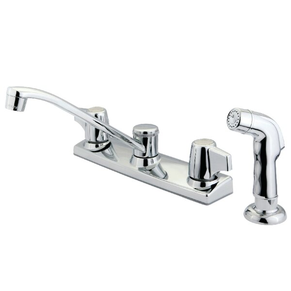 Pull Down Double Handle Kitchen Faucet with Side Sprayer by Kingston Brass
