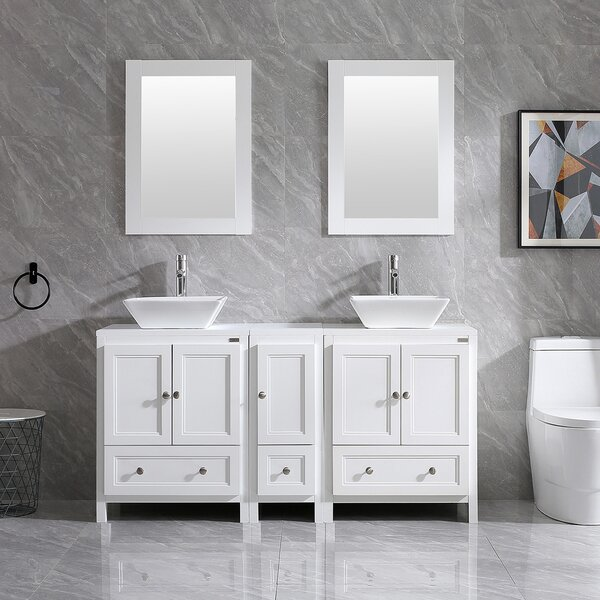 Mclawhorn 60'' Double Bathroom Vanity Set with Mirror