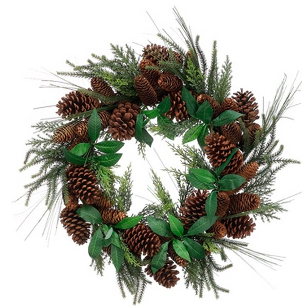24 Artificial Mixed Pine Christmas Wreath with Pine Cones by Tori Home