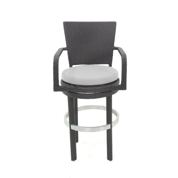Signature 27.75-inch Patio Bar Stool with Cushion by Patio Heaven Patio Heaven