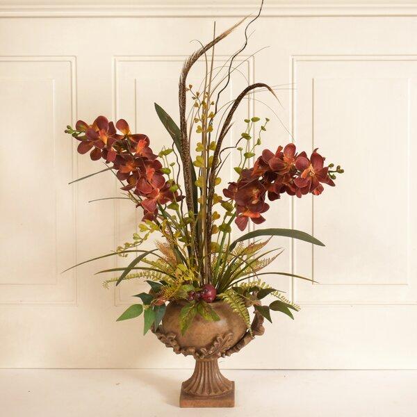 Vanda Orchid Silk Flower Floral Arrangement in Decorative Vase by Fleur De Lis Living