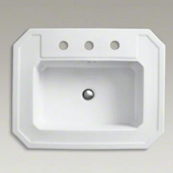 Kathryn® Ceramic Rectangular Drop-In Bathroom Sink with Overflow (Set of 2)