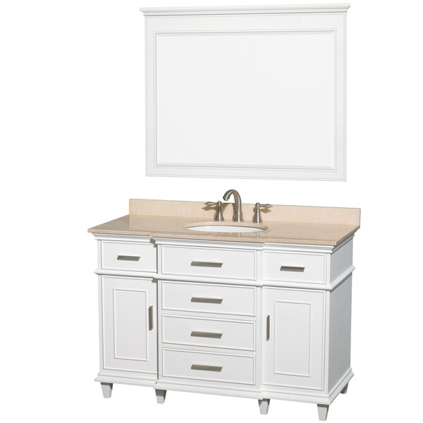 Berkeley 48 Single White Bathroom Vanity Set with Mirror by Wyndham Collection