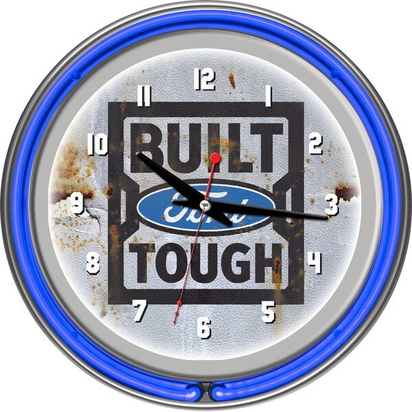 Built Ford Tough 11 Double Rung Neon Clock by Trademark Global