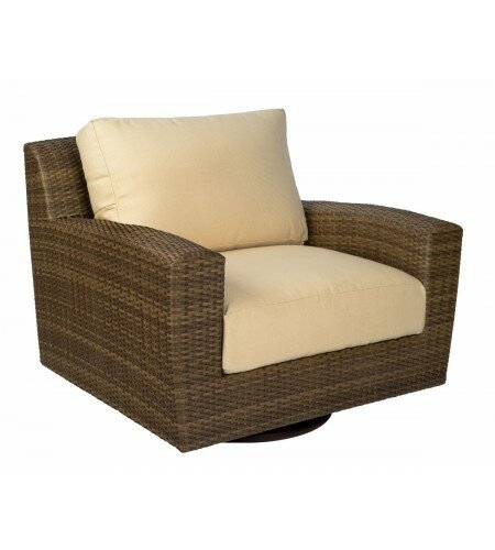 Saddleback Swivel Patio Chair with Cushions by Woodard