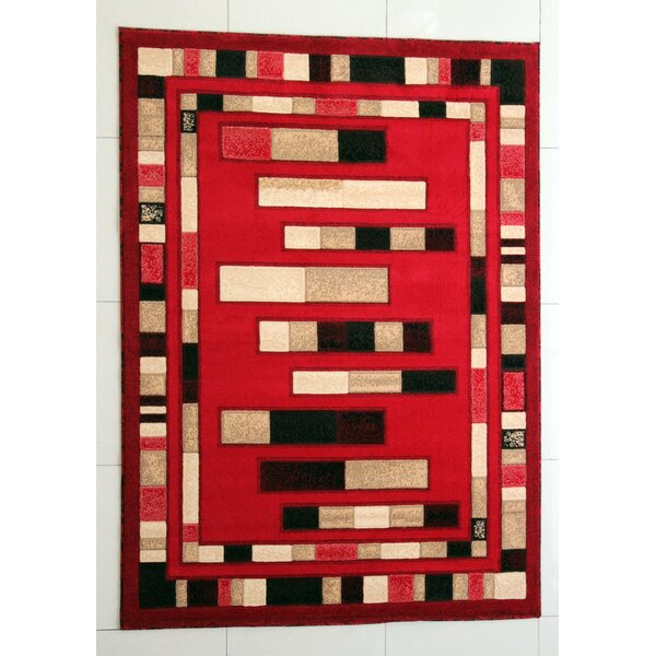 Slowe Red Area Rug by Ebern Designs