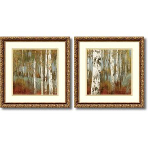 'Alongthe Path' 2 Piece Framed Painting Print Set by Three Posts