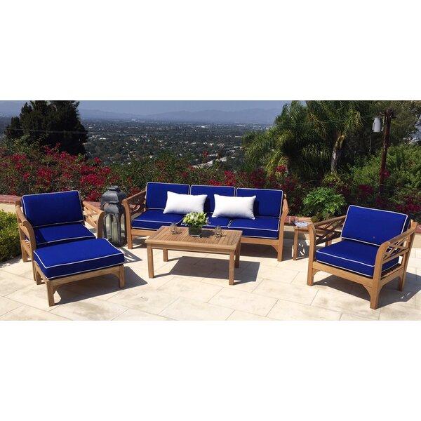 Lorenzo 5 Piece Teak Sofa Set with Sunbrella Cushions by Longshore Tides