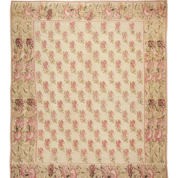 One-of-a-Kind Hand-Knotted Before 1900 Besserabian Beige/Red/Green 12'9 x 14'3 Wool Area Rug
