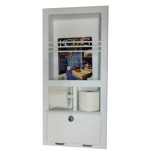 In The Wall Magazine Rack with Double Toilet Paper and Storage Cubby by WG Wood Products