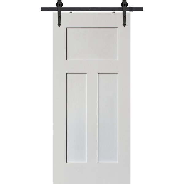 Craftsman Solid Wood Panelled Interior Barn Door b
