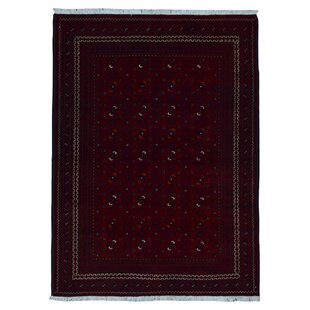 Price Check One-of-a-Kind Angoy Afghan Hand-Knotted Wool Red/Black Area Rug By Isabelline