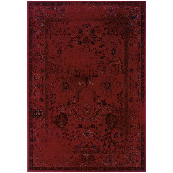 Raiden Red Area Rug by Bungalow Rose