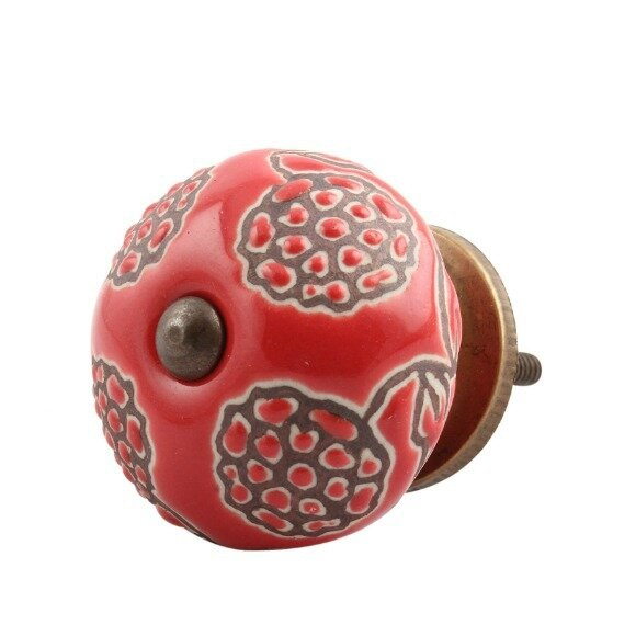 Handpainted Marigold Etched Ceramic Cabinet Round Knob by MarktSq
