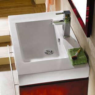 Price Check Mission Ceramic 24 Wall Mount Bathroom Sink with Overflow ByKingston Brass