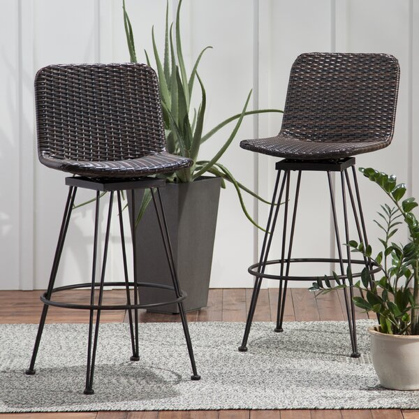 Prevost Outdoor Wicker Patio Bar Stool (Set of 2) by Wrought Studio| @ $182.99