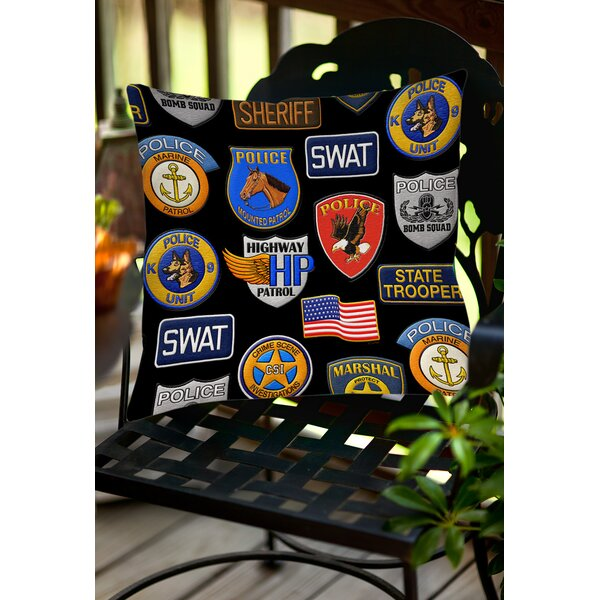Police Patches Indoor/Outdoor Throw Pillow by Manual Woodworkers & Weavers