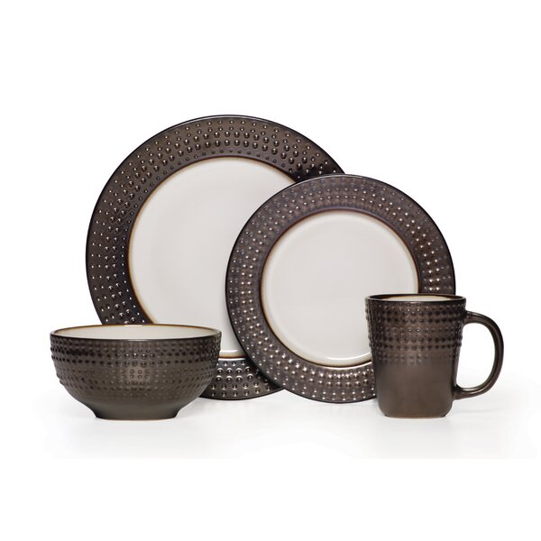 Avery 16 Piece Dinnerware Set, Service for 4 by Gourmet Basics by Mikasa