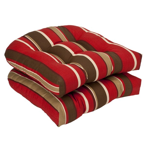 Striped Indoor/Outdoor Dining Chair Cushion (Set of 2) by Andover Mills