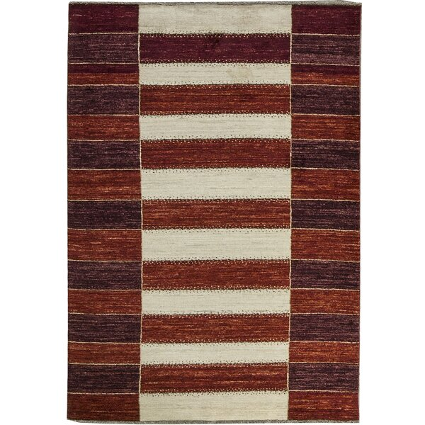One-of-a-Kind Gabbeh Grid Stripe Hand-Knotted Wool Red/Cream Area Rug by Bokara Rug Co., Inc.