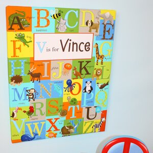 Kids Alphabet Personalized Graphic Art on Wrapped Canvas by Toad and Lily
