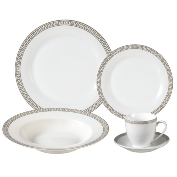 Gaskins Porcelain 24 Piece Dinnerware Set, Service for 4 by Lorren Home Trends