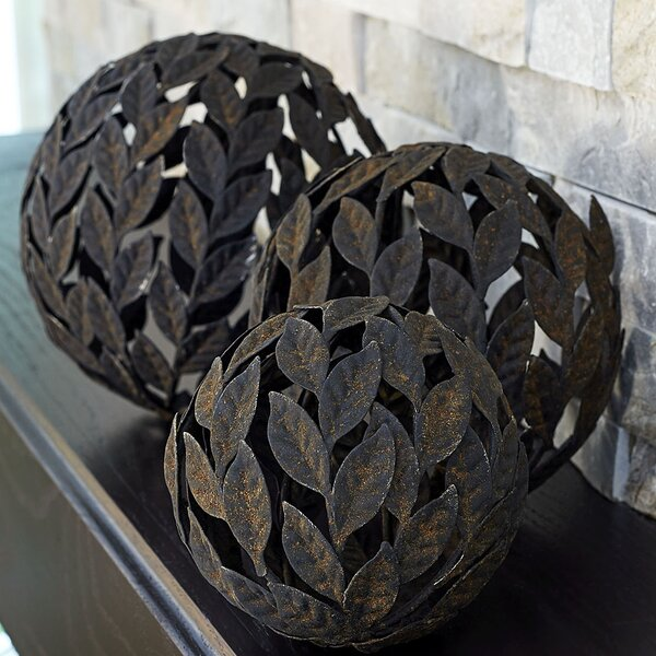 3 Piece Metal Leaf Decorative Ball Set by Household Essentials