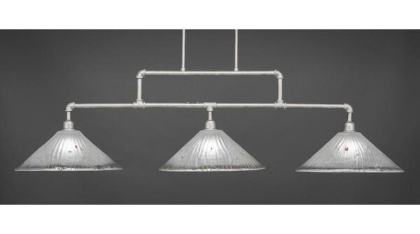Kash 3-Light Frosted Crystal Kitchen Island Pendant by Williston Forge