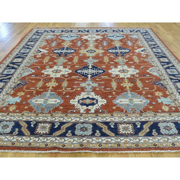 One-of-a-Kind Beaudry Karajeh Design Hand-Knotted Red Wool Area Rug by Isabelline